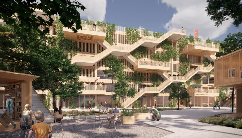 持続可能なモビリティと市民が集うデンマーク初の木造駐車場
