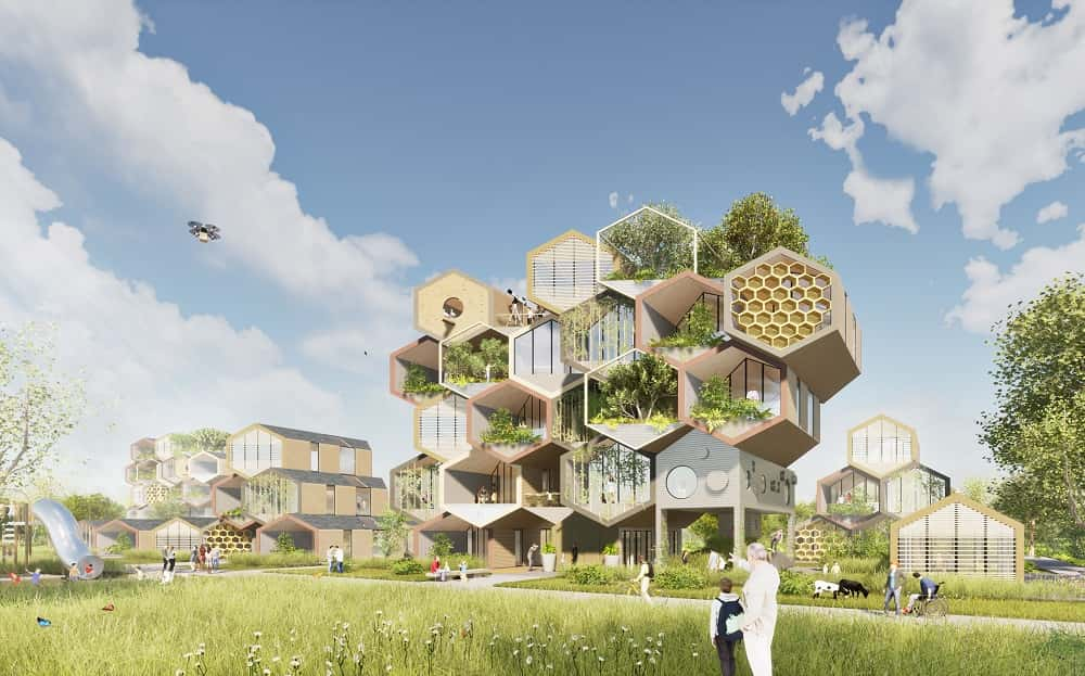 組み立ても壊すのも簡単。サーキュラーエコノミーを実現する「ハチの巣」型住宅