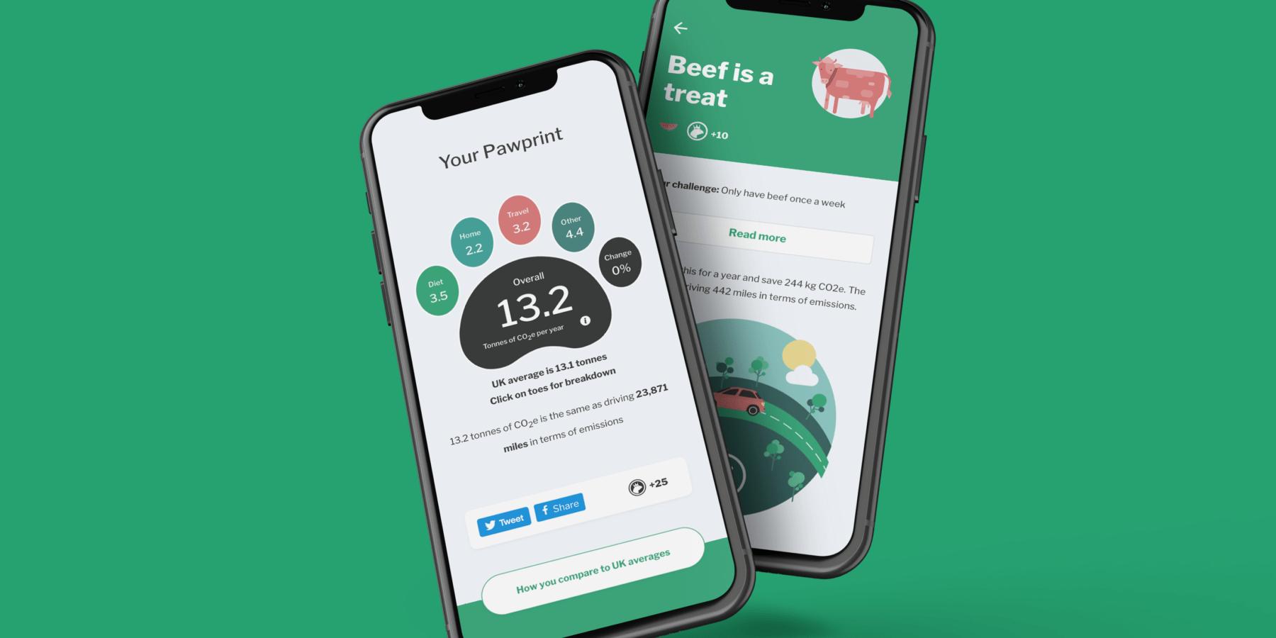 個人の二酸化炭素排出量を測定し削減のヒントを教えるアプリ「Pawprint」
