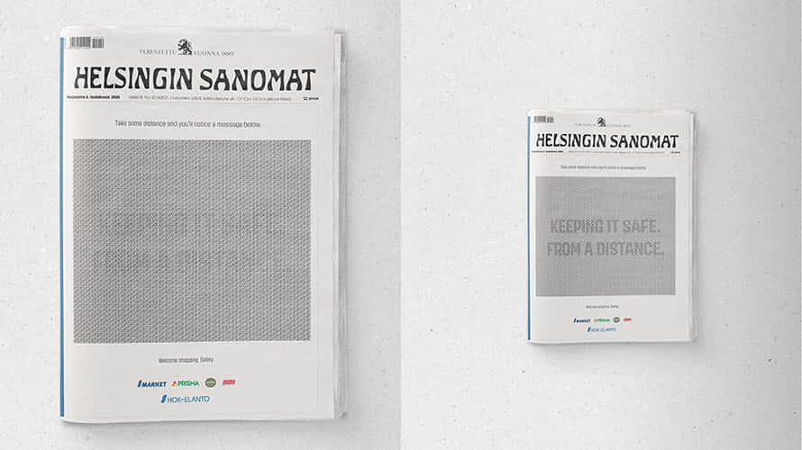 ソーシャルディスタンスを取ると読める、フィンランドの生協による新聞広告